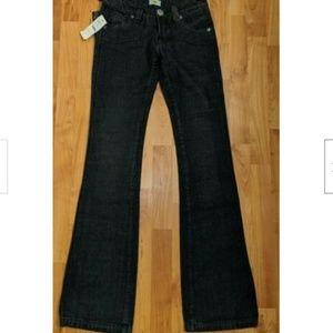 Antik Denim Faux Leather Pockets Bootcut Jeans